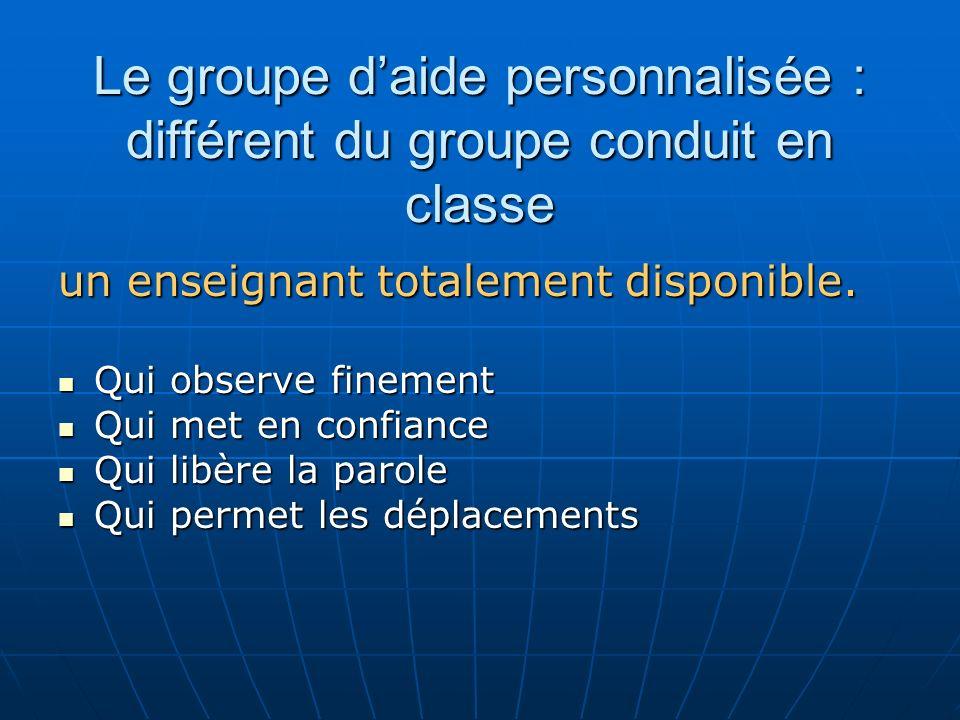 Le groupe daide personnalisée : différent du groupe conduit en classe un enseignant totalement disponible. Qui observe finement Qui observe finement Q