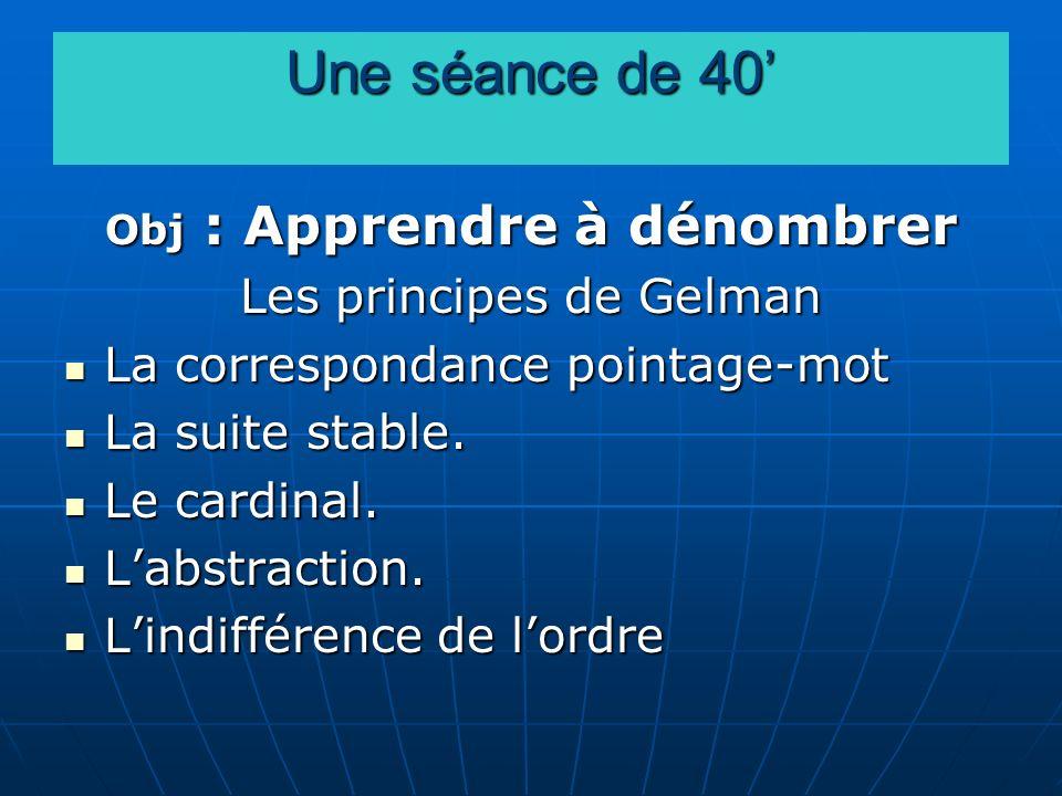 Une séance de 40 Obj : Apprendre à dénombrer Les principes de Gelman La correspondance pointage-mot La correspondance pointage-mot La suite stable. La