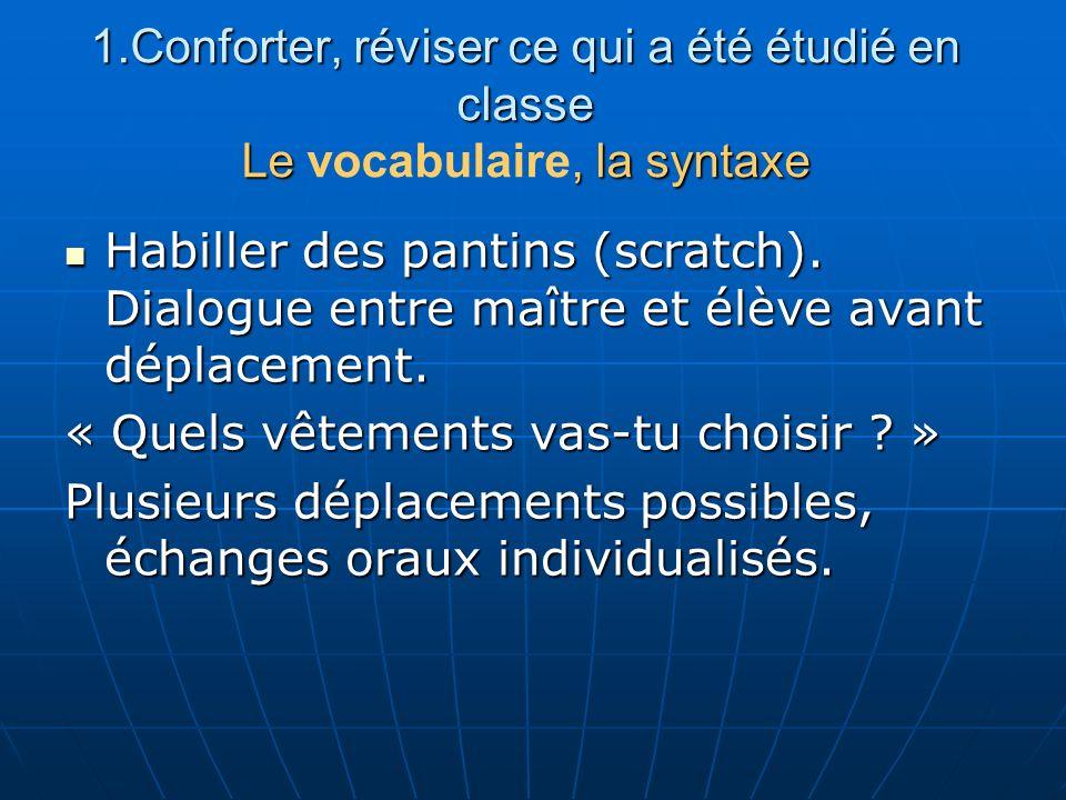1.Conforter, réviser ce qui a été étudié en classe Le, la syntaxe 1.Conforter, réviser ce qui a été étudié en classe Le vocabulaire, la syntaxe Habill