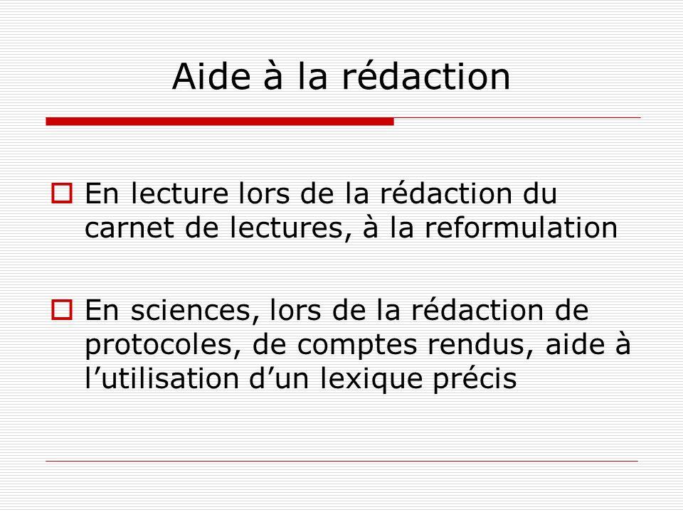 Aide à la rédaction En lecture lors de la rédaction du carnet de lectures, à la reformulation En sciences, lors de la rédaction de protocoles, de comp