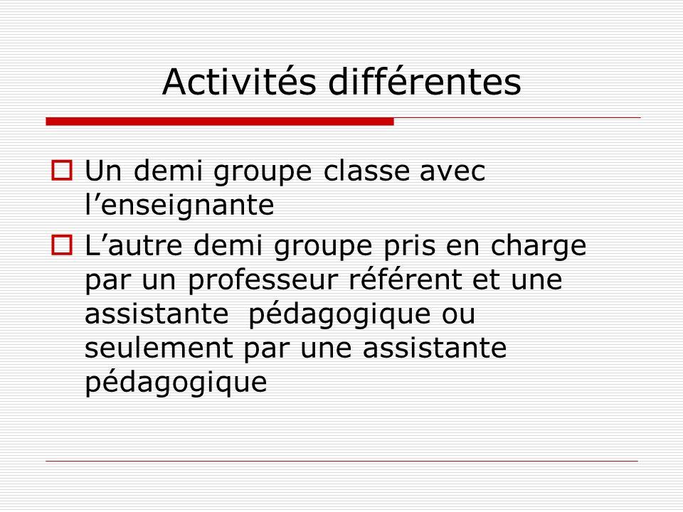 Activités différentes Un demi groupe classe avec lenseignante Lautre demi groupe pris en charge par un professeur référent et une assistante pédagogiq