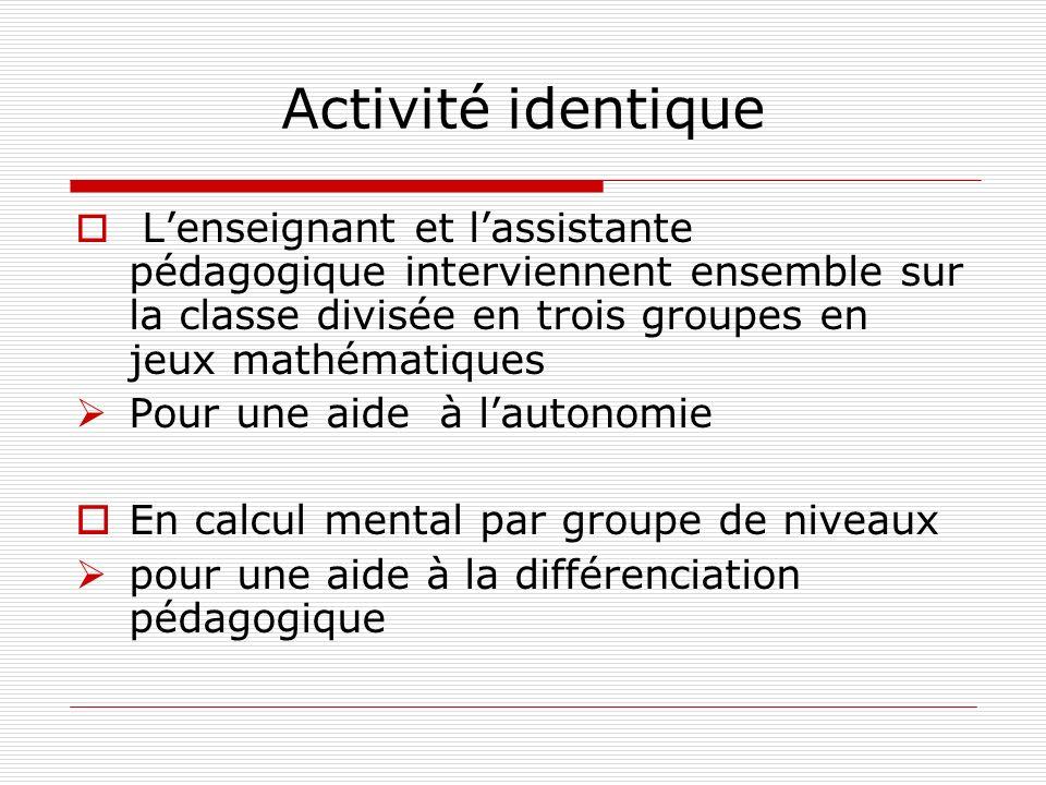 Activité identique Lenseignant et lassistante pédagogique interviennent ensemble sur la classe divisée en trois groupes en jeux mathématiques Pour une