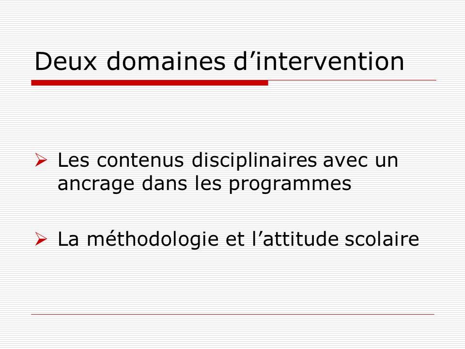Les contenus disciplinaires avec un ancrage dans les programmes La méthodologie et lattitude scolaire Deux domaines dintervention