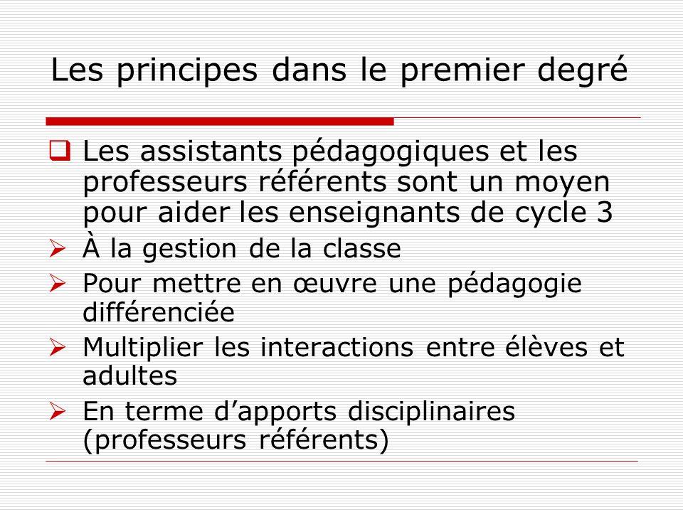 Les principes dans le premier degré Les assistants pédagogiques et les professeurs référents sont un moyen pour aider les enseignants de cycle 3 À la