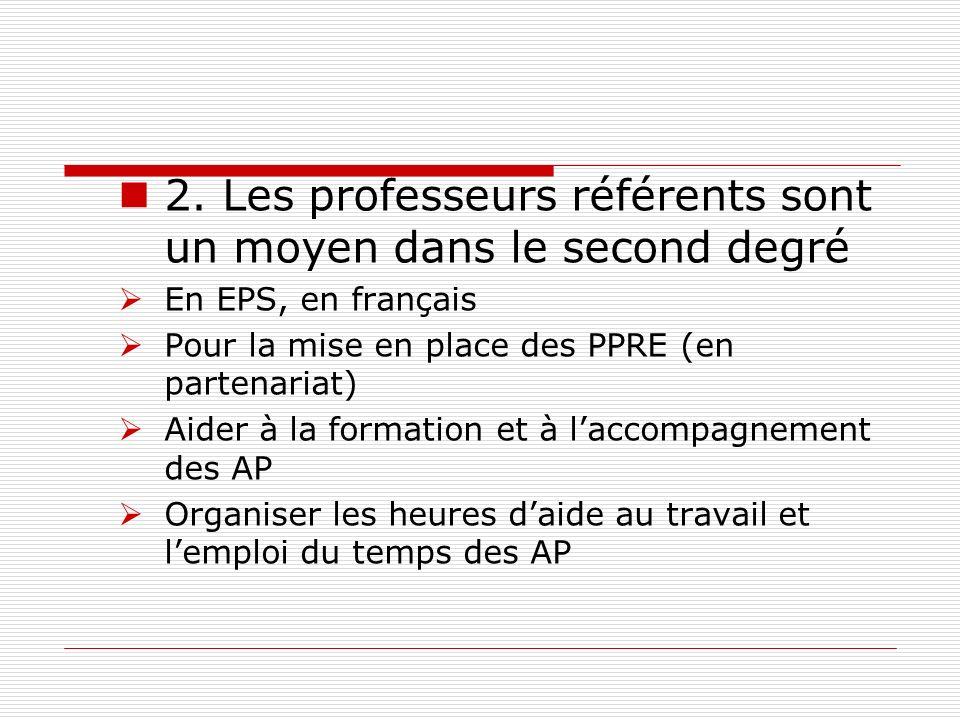 2. Les professeurs référents sont un moyen dans le second degré En EPS, en français Pour la mise en place des PPRE (en partenariat) Aider à la formati
