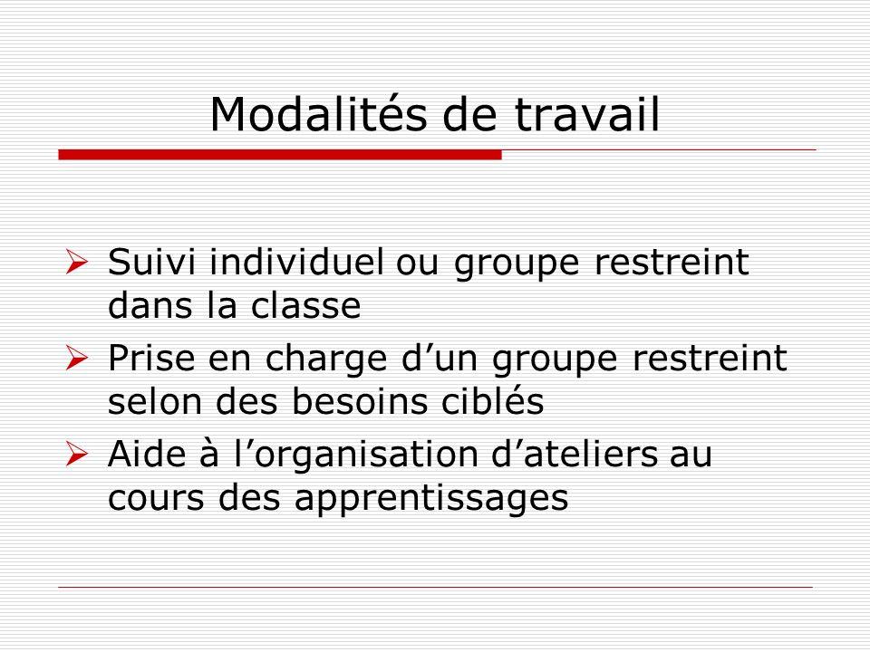 Modalités de travail Suivi individuel ou groupe restreint dans la classe Prise en charge dun groupe restreint selon des besoins ciblés Aide à lorganis