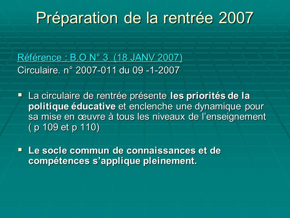 Préparation de la rentrée 2007 Référence : B.O N° 3 (18 JANV 2007) Référence : B.O N° 3 (18 JANV 2007) Circulaire.