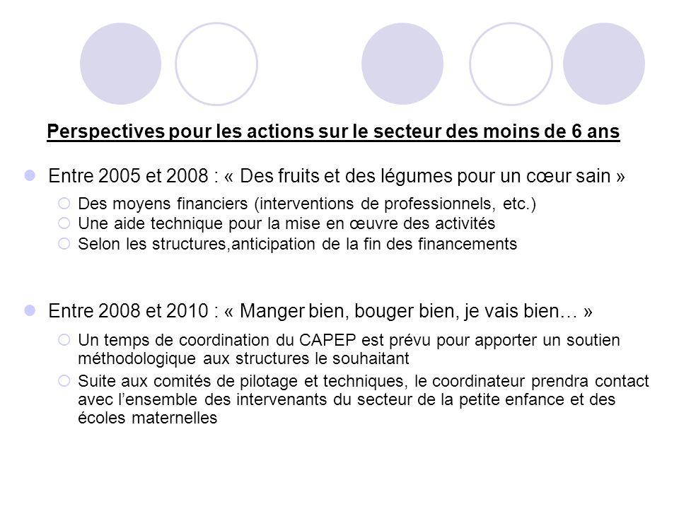 Perspectives pour les actions sur le secteur des moins de 6 ans Entre 2005 et 2008 : « Des fruits et des légumes pour un cœur sain » Des moyens financ