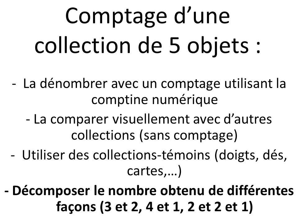 Comptage dune collection de 5 objets : -La dénombrer avec un comptage utilisant la comptine numérique - La comparer visuellement avec dautres collecti