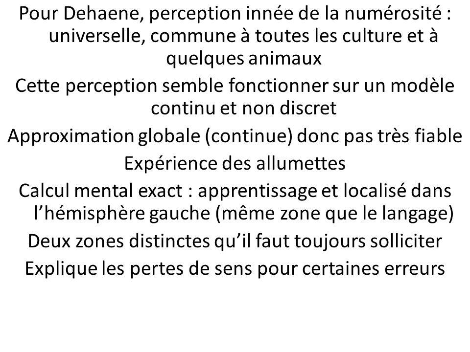 Pour Dehaene, perception innée de la numérosité : universelle, commune à toutes les culture et à quelques animaux Cette perception semble fonctionner