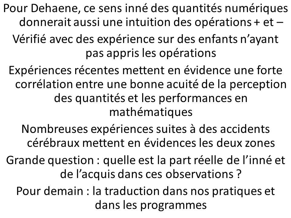 Pour Dehaene, ce sens inné des quantités numériques donnerait aussi une intuition des opérations + et – Vérifié avec des expérience sur des enfants na