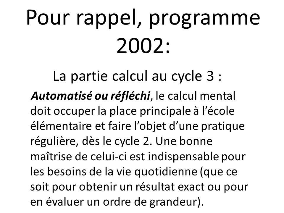 Pour rappel, programme 2002: La partie calcul au cycle 3 : Automatisé ou réfléchi, le calcul mental doit occuper la place principale à lécole élémenta