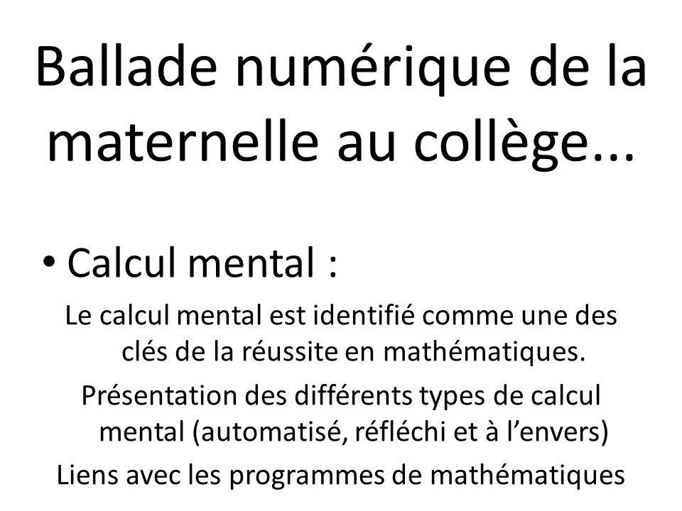 Un coup dœil sur : Mathador (collège et « passionnés » du calcul mental)