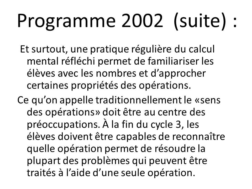 Programme 2002 (suite) : Et surtout, une pratique régulière du calcul mental réfléchi permet de familiariser les élèves avec les nombres et dapprocher