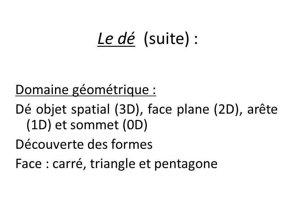 Le dé (suite) : Domaine géométrique : Dé objet spatial (3D), face plane (2D), arête (1D) et sommet (0D) Découverte des formes Face : carré, triangle e