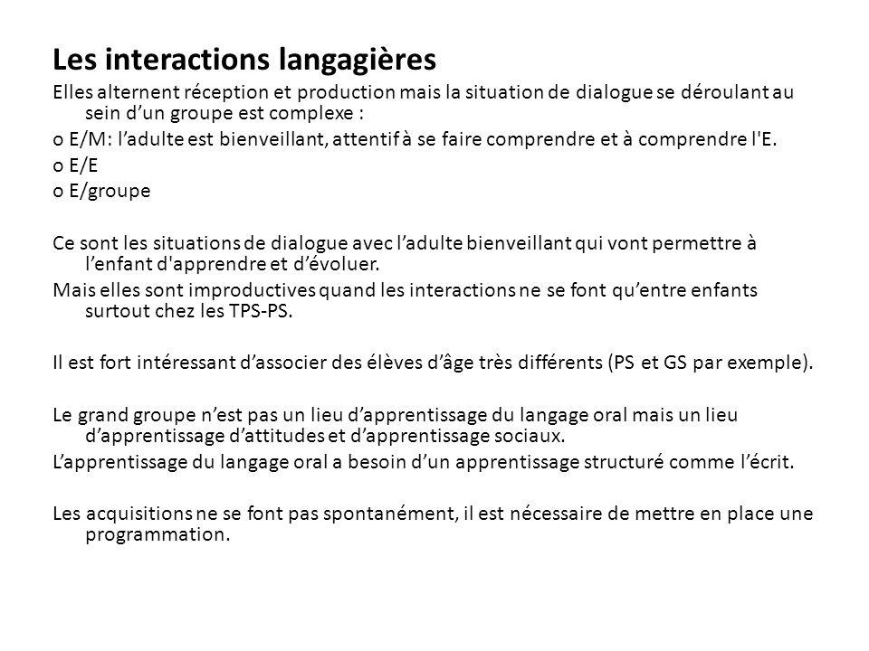 Les interactions langagières Elles alternent réception et production mais la situation de dialogue se déroulant au sein dun groupe est complexe : o E/