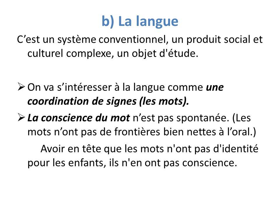 b) La langue Cest un système conventionnel, un produit social et culturel complexe, un objet d'étude. On va sintéresser à la langue comme une coordina