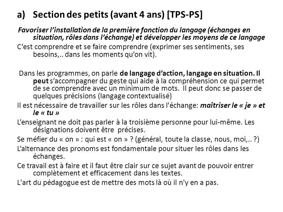 a)Section des petits (avant 4 ans) [TPS-PS] Favoriser linstallation de la première fonction du langage (échanges en situation, rôles dans léchange) et