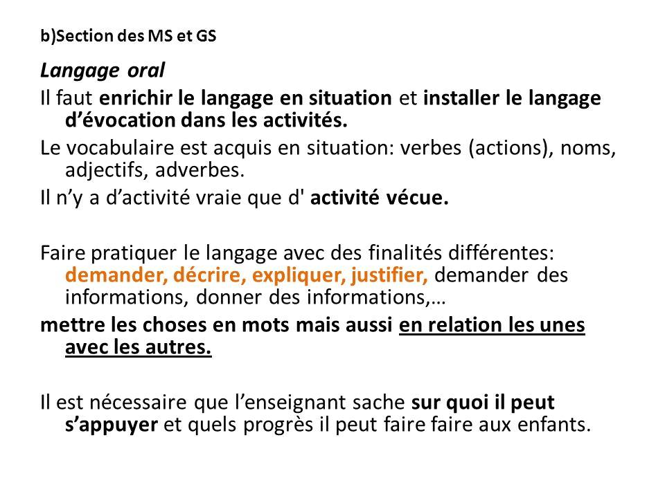 b)Section des MS et GS Langage oral Il faut enrichir le langage en situation et installer le langage dévocation dans les activités. Le vocabulaire est