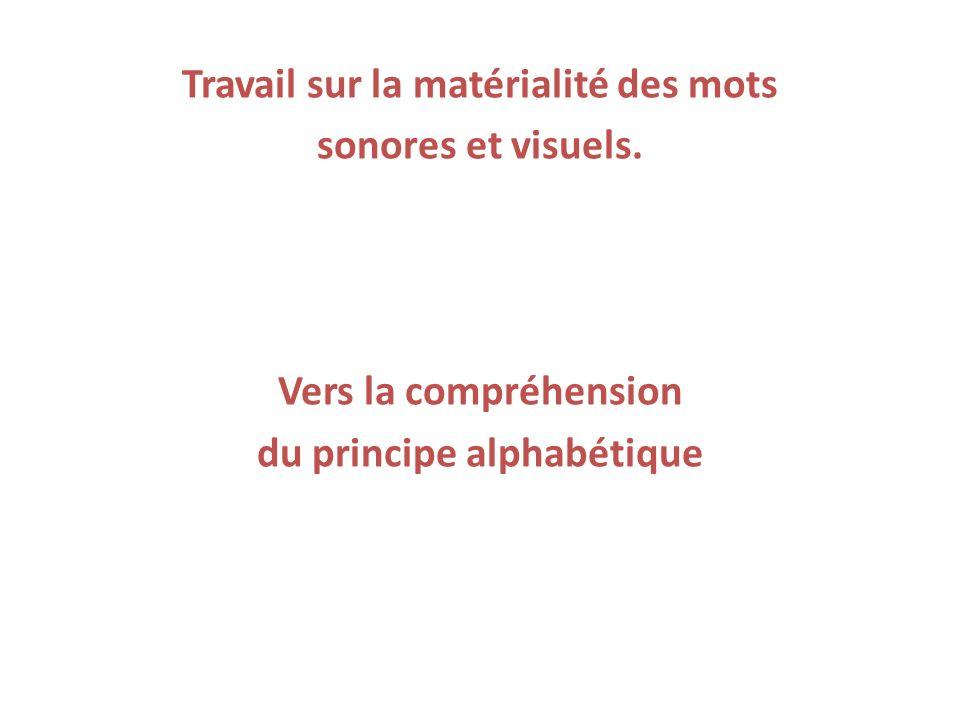 Travail sur la matérialité des mots sonores et visuels. Vers la compréhension du principe alphabétique