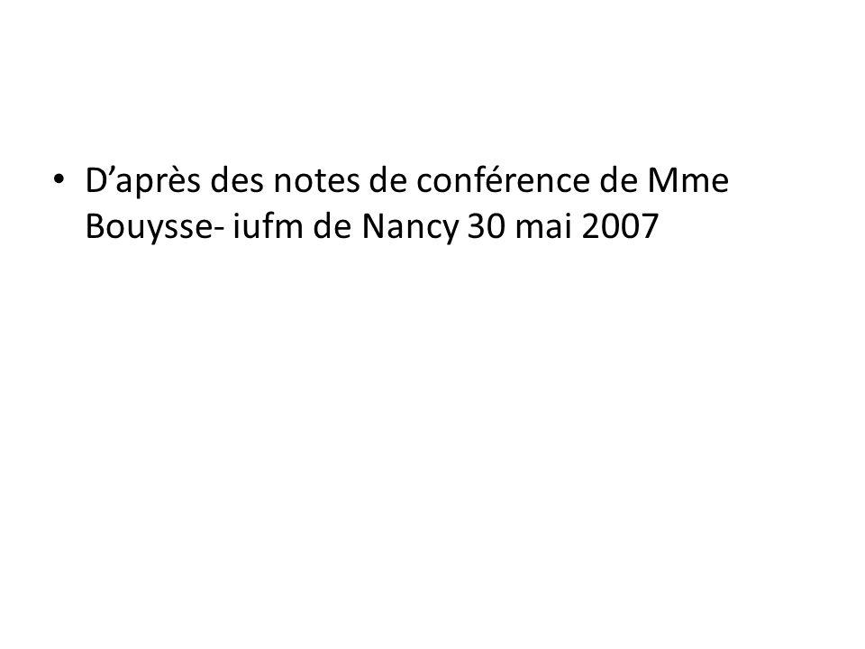 Daprès des notes de conférence de Mme Bouysse- iufm de Nancy 30 mai 2007