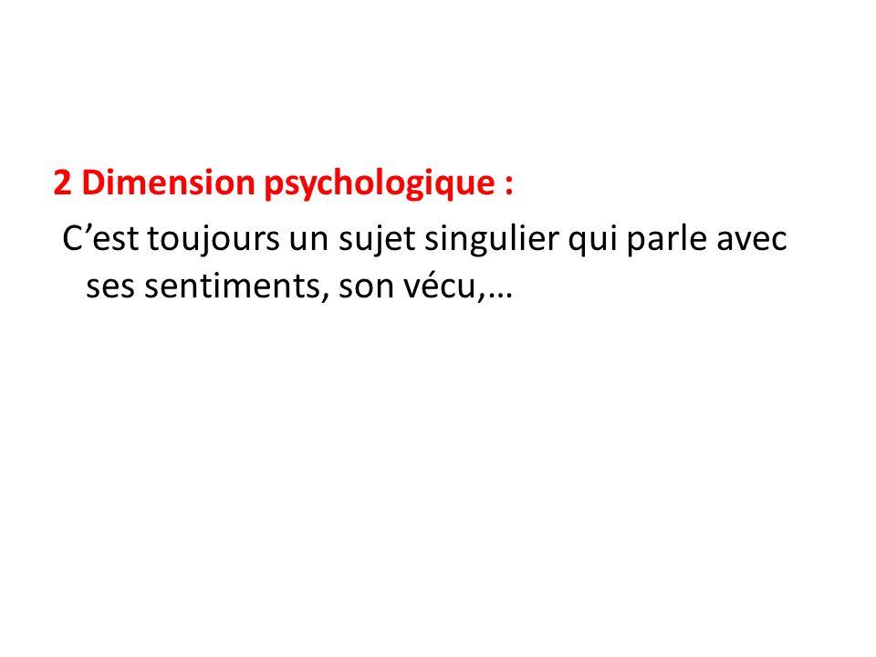 2 Dimension psychologique : Cest toujours un sujet singulier qui parle avec ses sentiments, son vécu,…