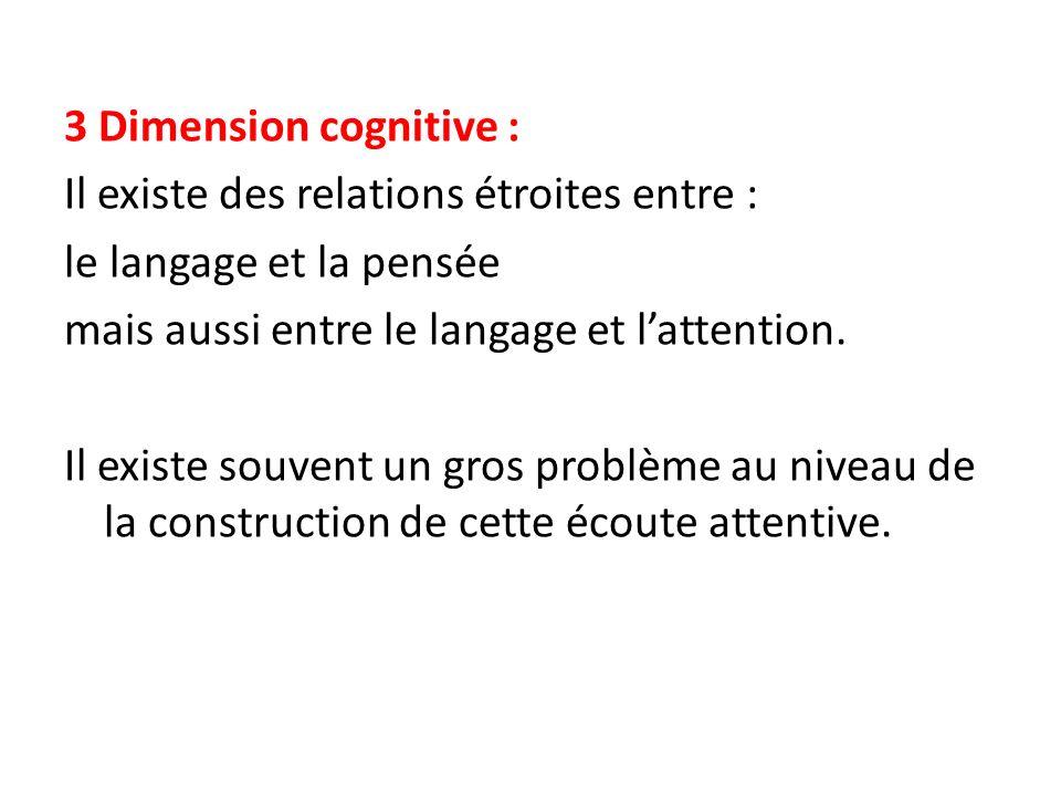 3 Dimension cognitive : Il existe des relations étroites entre : le langage et la pensée mais aussi entre le langage et lattention. Il existe souvent
