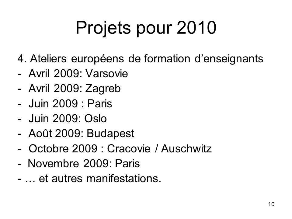 10 Projets pour 2010 4. Ateliers européens de formation denseignants -Avril 2009: Varsovie -Avril 2009: Zagreb -Juin 2009 : Paris -Juin 2009: Oslo -Ao