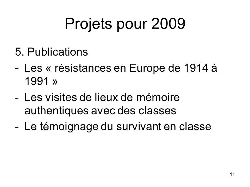 11 Projets pour 2009 5. Publications -Les « résistances en Europe de 1914 à 1991 » -Les visites de lieux de mémoire authentiques avec des classes -Le