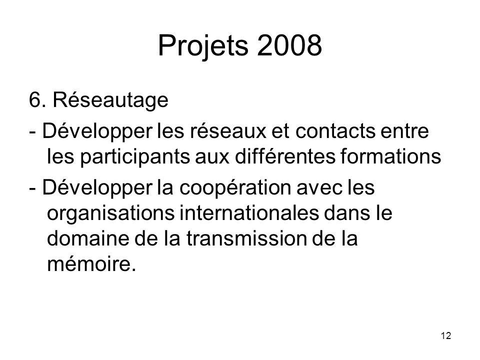 12 Projets 2008 6. Réseautage - Développer les réseaux et contacts entre les participants aux différentes formations - Développer la coopération avec