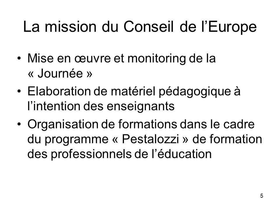 5 La mission du Conseil de lEurope Mise en œuvre et monitoring de la « Journée » Elaboration de matériel pédagogique à lintention des enseignants Orga