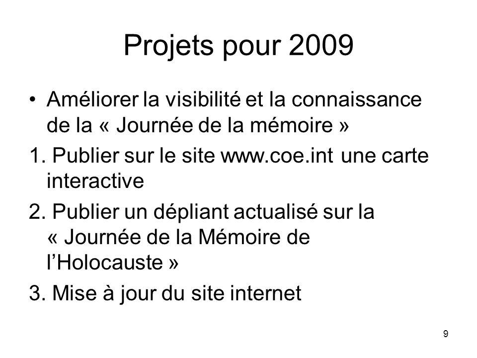 9 Projets pour 2009 Améliorer la visibilité et la connaissance de la « Journée de la mémoire » 1. Publier sur le site www.coe.int une carte interactiv