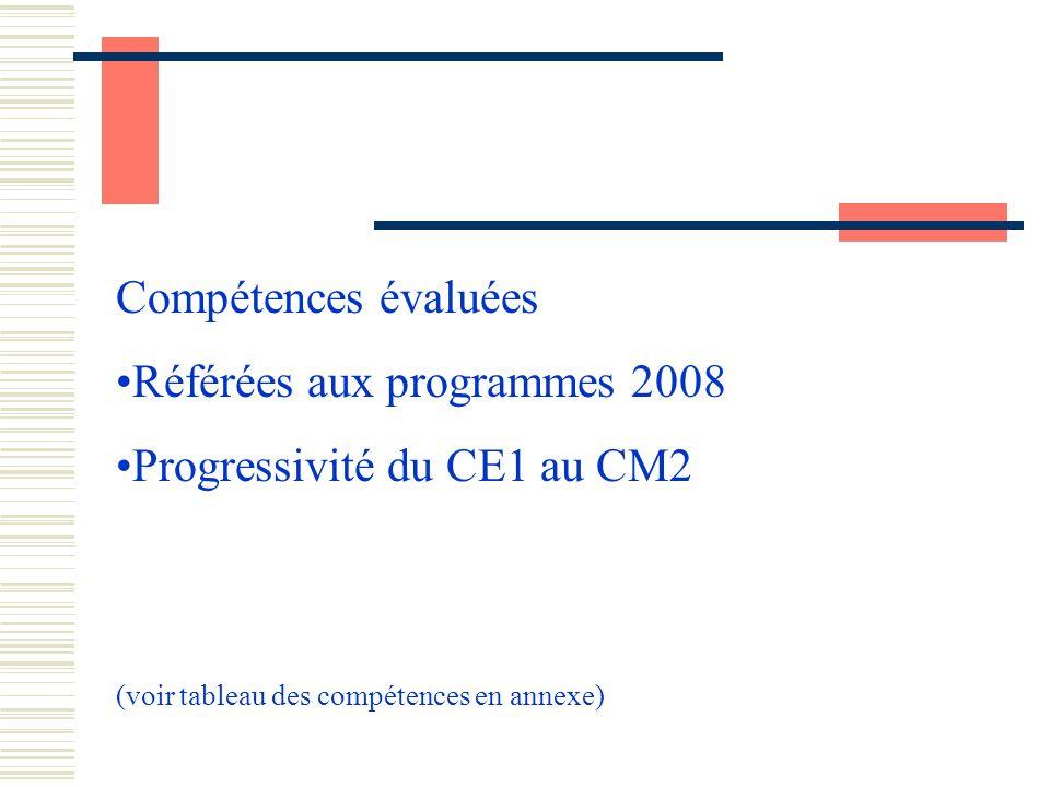 Compétences évaluées Référées aux programmes 2008 Progressivité du CE1 au CM2 (voir tableau des compétences en annexe)