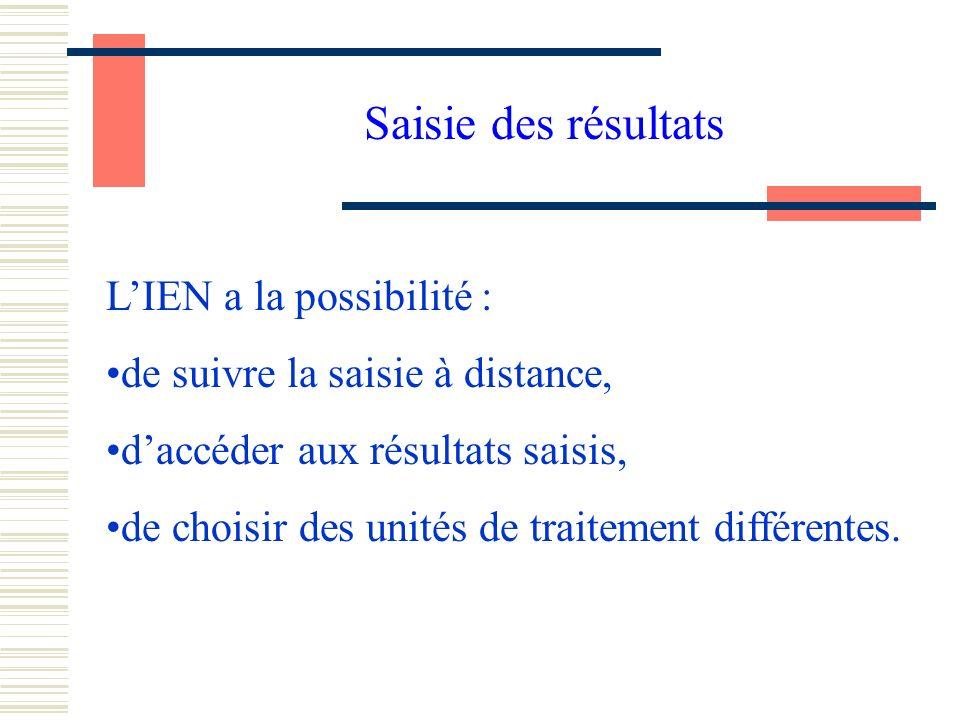 Saisie des résultats LIEN a la possibilité : de suivre la saisie à distance, daccéder aux résultats saisis, de choisir des unités de traitement différentes.