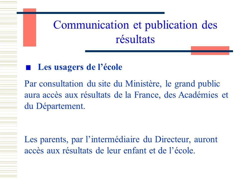 Communication et publication des résultats Les usagers de lécole Par consultation du site du Ministère, le grand public aura accès aux résultats de la France, des Académies et du Département.