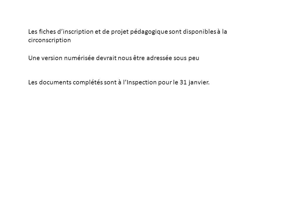 Les fiches dinscription et de projet pédagogique sont disponibles à la circonscription Une version numérisée devrait nous être adressée sous peu Les documents complétés sont à lInspection pour le 31 janvier.