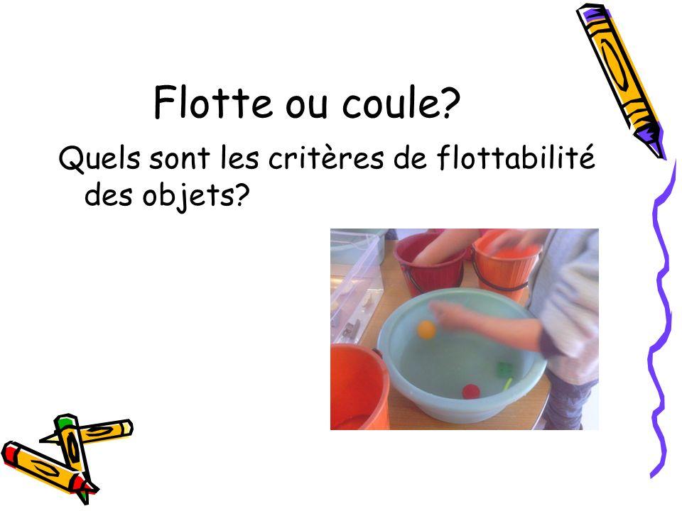 Flotte ou coule? Quels sont les critères de flottabilité des objets?