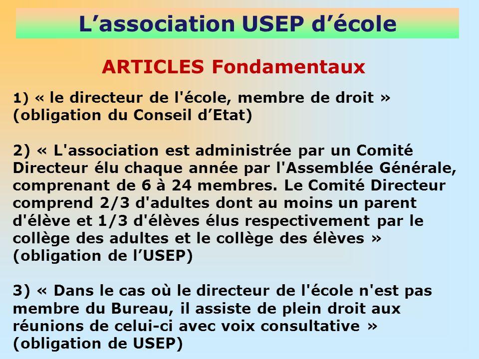 Lassociation USEP décole 1) « le directeur de l école, membre de droit » (obligation du Conseil dEtat) 2) « L association est administrée par un Comité Directeur élu chaque année par l Assemblée Générale, comprenant de 6 à 24 membres.