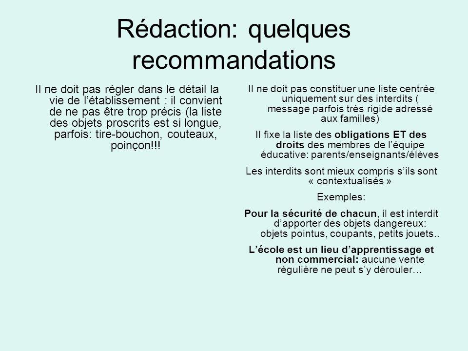 Rédaction: quelques recommandations Il ne doit pas régler dans le détail la vie de létablissement : il convient de ne pas être trop précis (la liste d