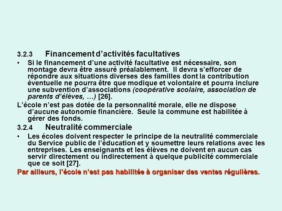 3.2.3 Financement dactivités facultatives Si le financement dune activité facultative est nécessaire, son montage devra être assuré préalablement. Il