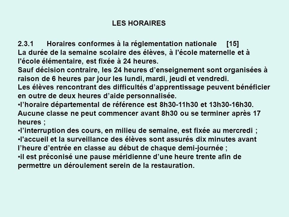 LES HORAIRES 2.3.1 Horaires conformes à la réglementation nationale [15] La durée de la semaine scolaire des élèves, à l'école maternelle et à l'école