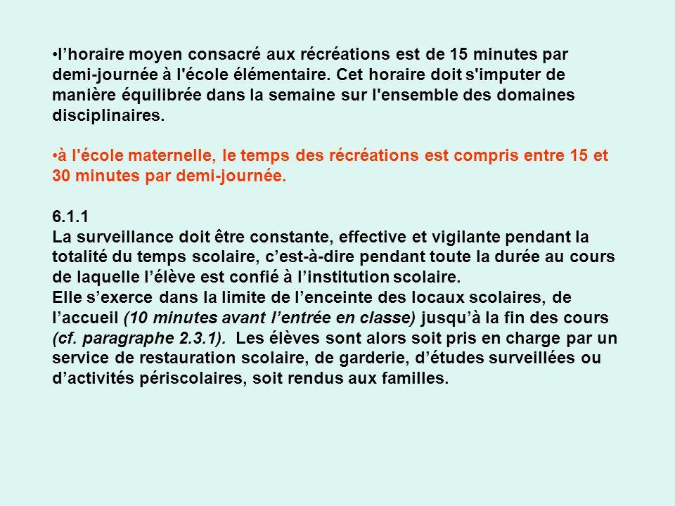 lhoraire moyen consacré aux récréations est de 15 minutes par demi-journée à l'école élémentaire. Cet horaire doit s'imputer de manière équilibrée dan