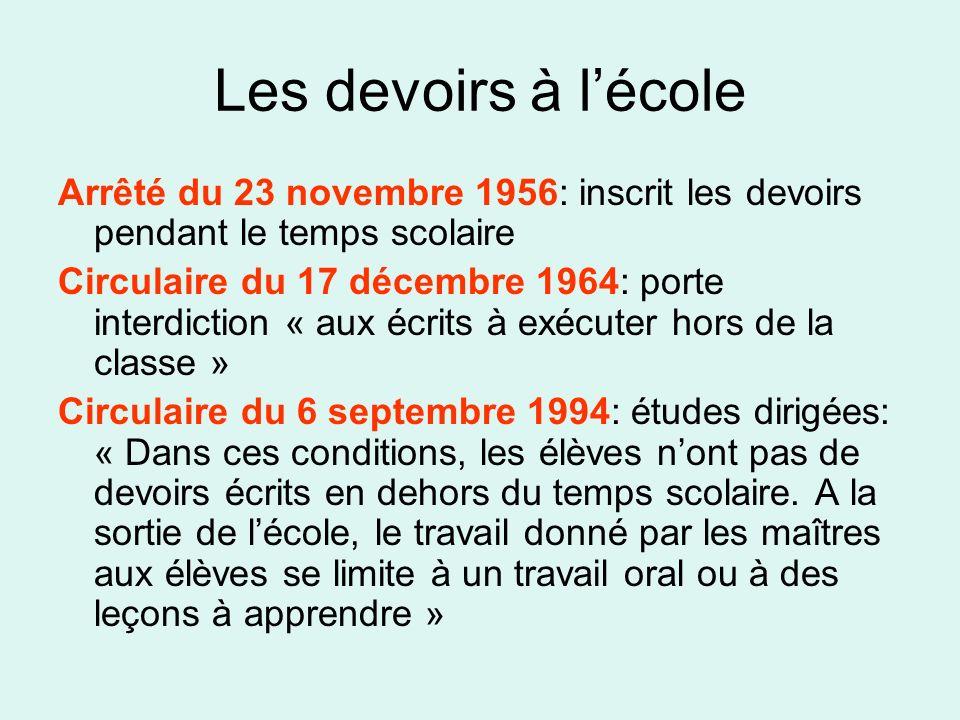 Les devoirs à lécole Arrêté du 23 novembre 1956: inscrit les devoirs pendant le temps scolaire Circulaire du 17 décembre 1964: porte interdiction « au