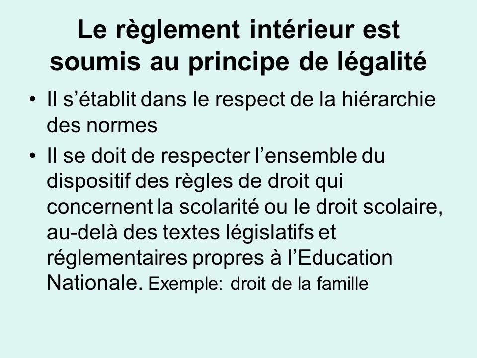 Le règlement intérieur est soumis au principe de légalité Il sétablit dans le respect de la hiérarchie des normes Il se doit de respecter lensemble du