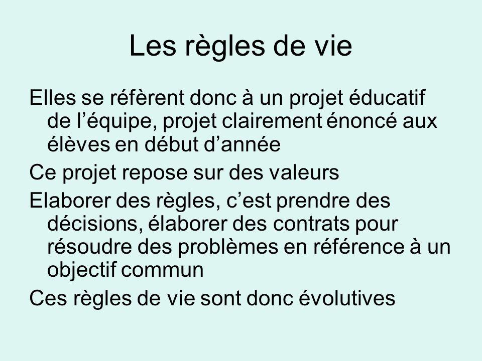 Les règles de vie Elles se réfèrent donc à un projet éducatif de léquipe, projet clairement énoncé aux élèves en début dannée Ce projet repose sur des