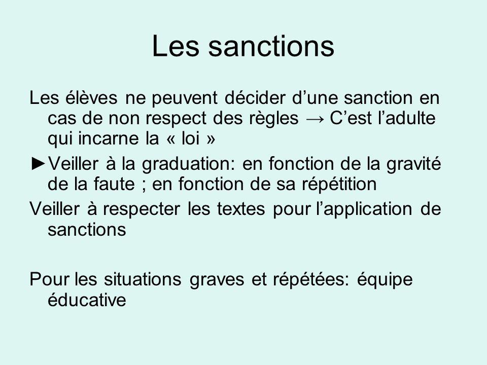 Les sanctions Les élèves ne peuvent décider dune sanction en cas de non respect des règles Cest ladulte qui incarne la « loi » Veiller à la graduation