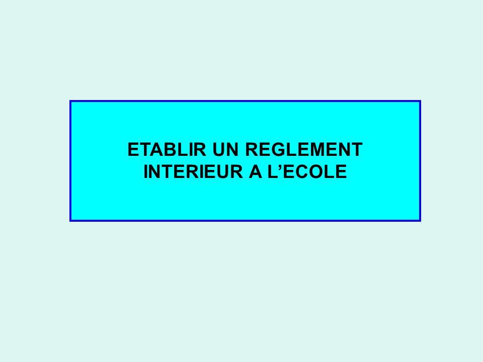 ETABLIR UN REGLEMENT INTERIEUR A LECOLE
