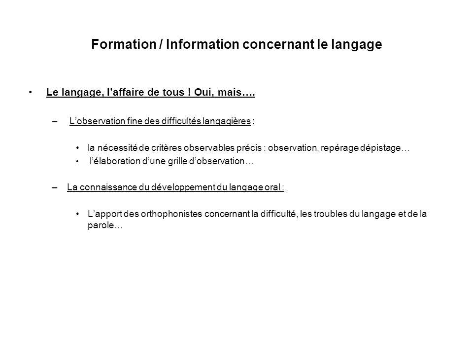 Formation / Information concernant le langage Le langage, laffaire de tous .
