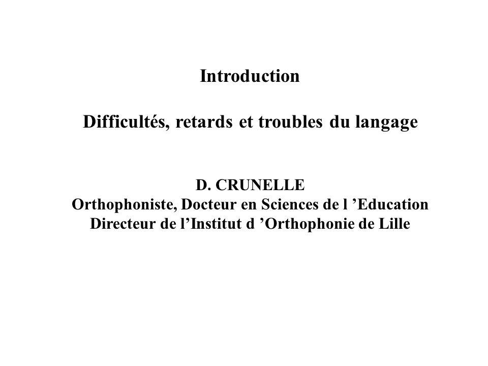 Introduction Difficultés, retards et troubles du langage D. CRUNELLE Orthophoniste, Docteur en Sciences de l Education Directeur de lInstitut d Orthop