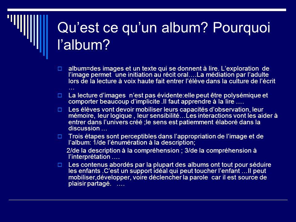 Quest ce quun album? Pourquoi lalbum? album=des images et un texte qui se donnent à lire. Lexploration de limage permet une initiation au récit oral….